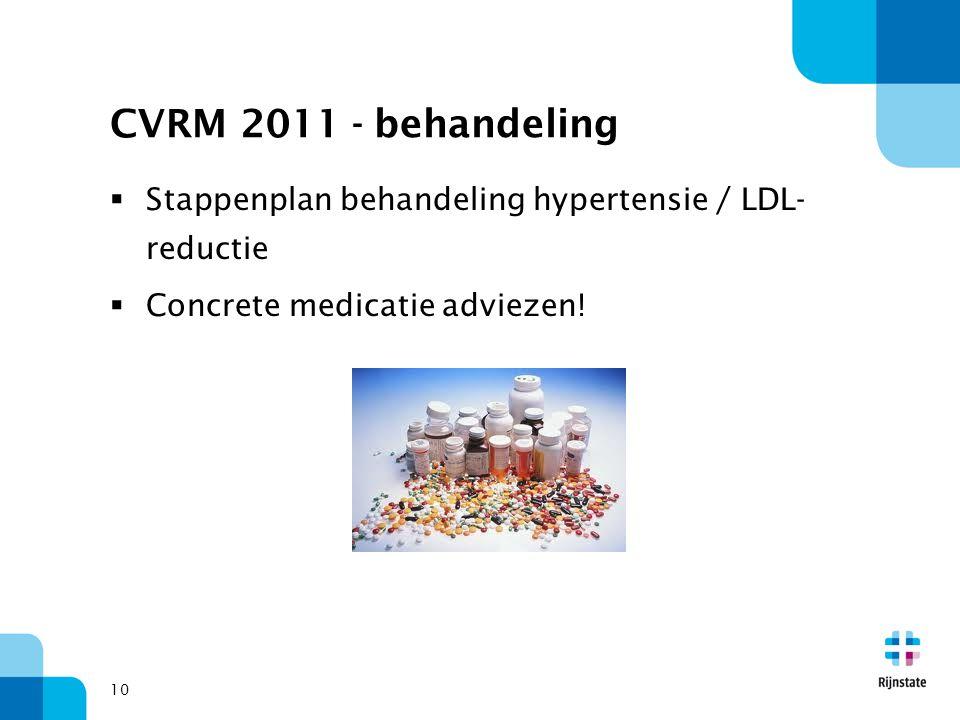 CVRM 2011 - behandeling Stappenplan behandeling hypertensie / LDL-reductie.