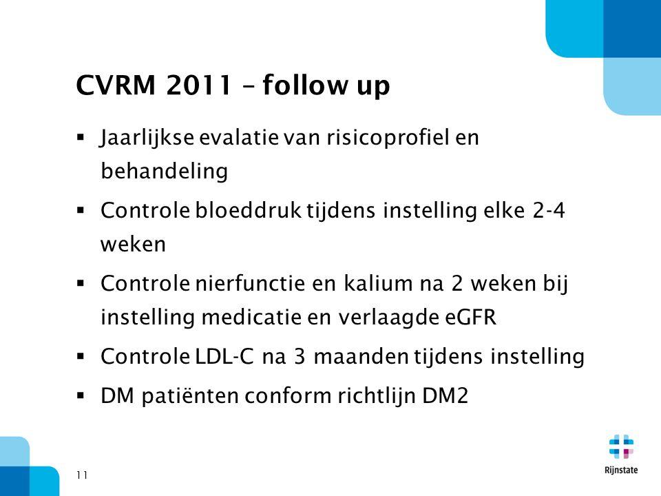 CVRM 2011 – follow up Jaarlijkse evalatie van risicoprofiel en behandeling. Controle bloeddruk tijdens instelling elke 2-4 weken.