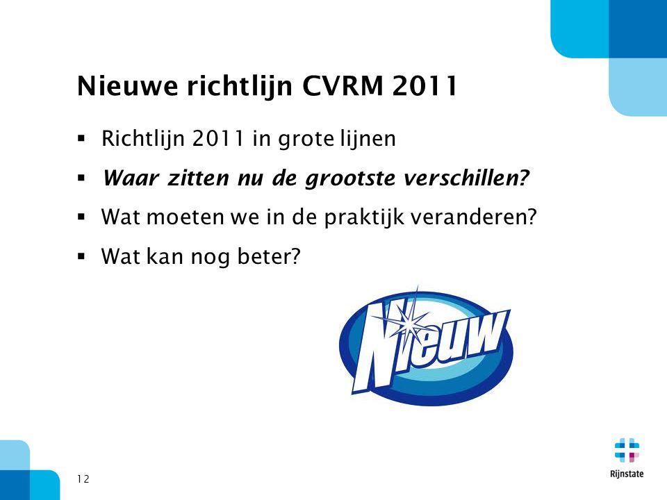 Nieuwe richtlijn CVRM 2011 Richtlijn 2011 in grote lijnen
