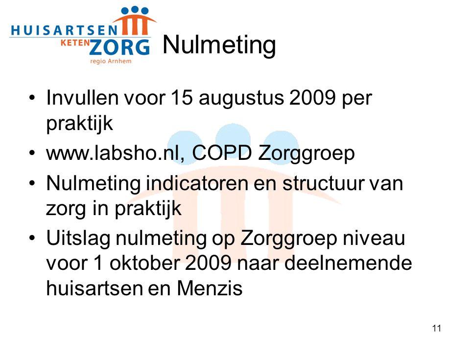 Nulmeting Invullen voor 15 augustus 2009 per praktijk