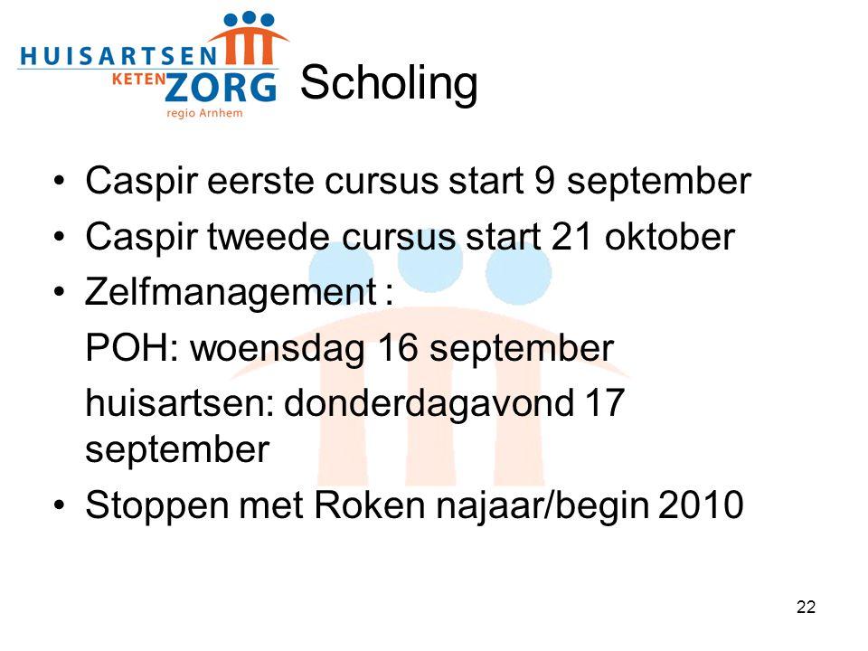Scholing Caspir eerste cursus start 9 september