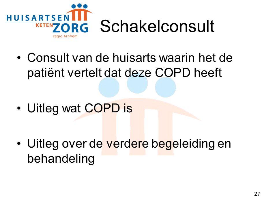 Schakelconsult Consult van de huisarts waarin het de patiënt vertelt dat deze COPD heeft. Uitleg wat COPD is.
