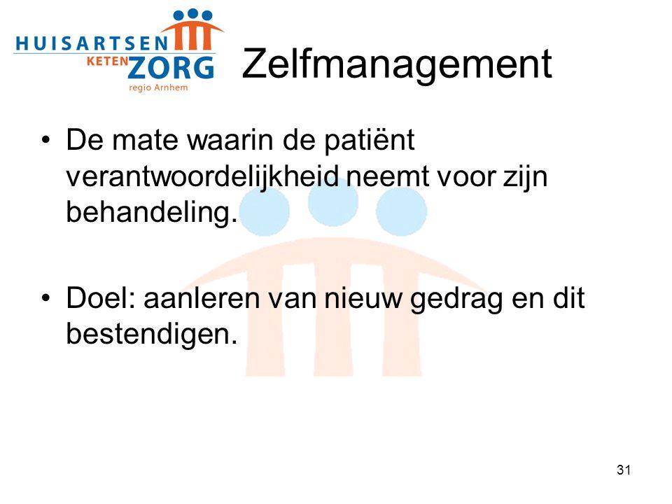 Zelfmanagement De mate waarin de patiënt verantwoordelijkheid neemt voor zijn behandeling.