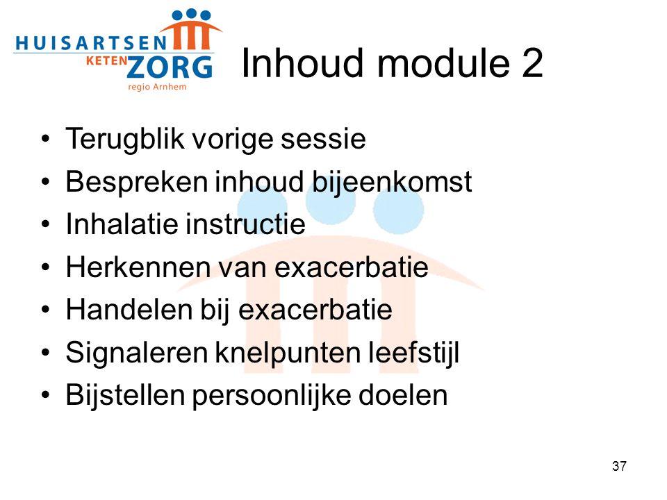 Inhoud module 2 Terugblik vorige sessie Bespreken inhoud bijeenkomst