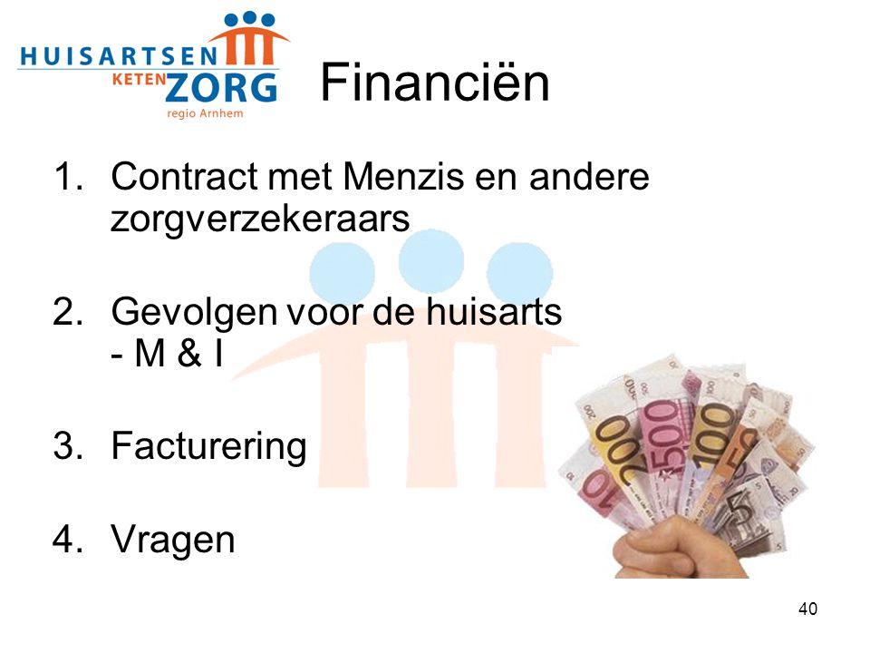 Financiën Contract met Menzis en andere zorgverzekeraars