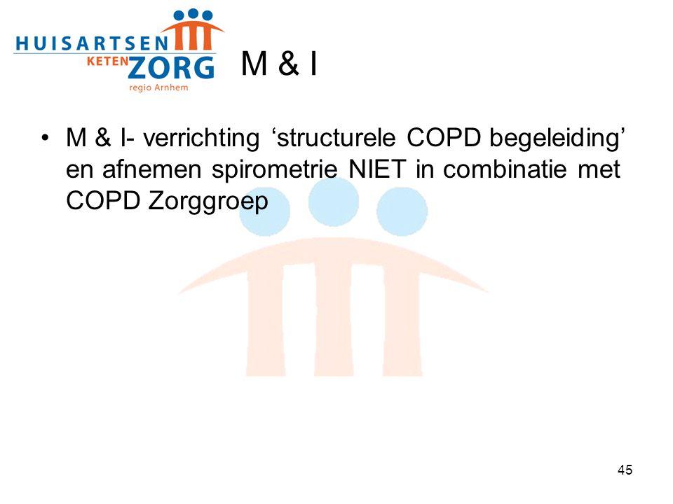 M & I M & I- verrichting 'structurele COPD begeleiding' en afnemen spirometrie NIET in combinatie met COPD Zorggroep.