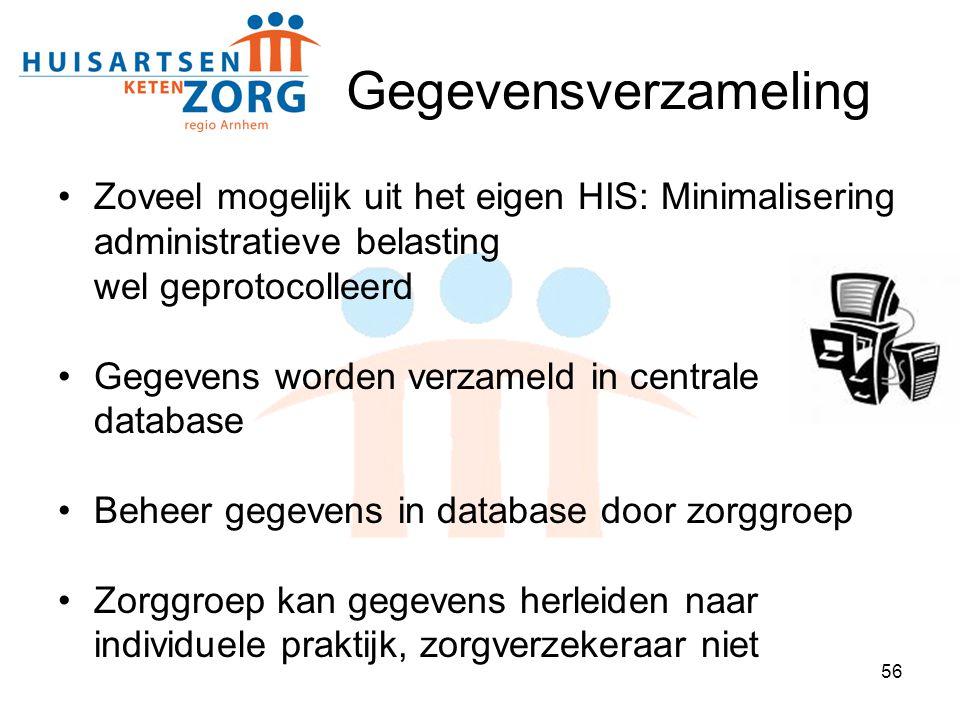 Gegevensverzameling Zoveel mogelijk uit het eigen HIS: Minimalisering administratieve belasting wel geprotocolleerd.