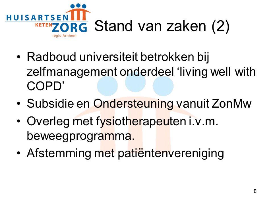 Stand van zaken (2) Radboud universiteit betrokken bij zelfmanagement onderdeel 'living well with COPD'