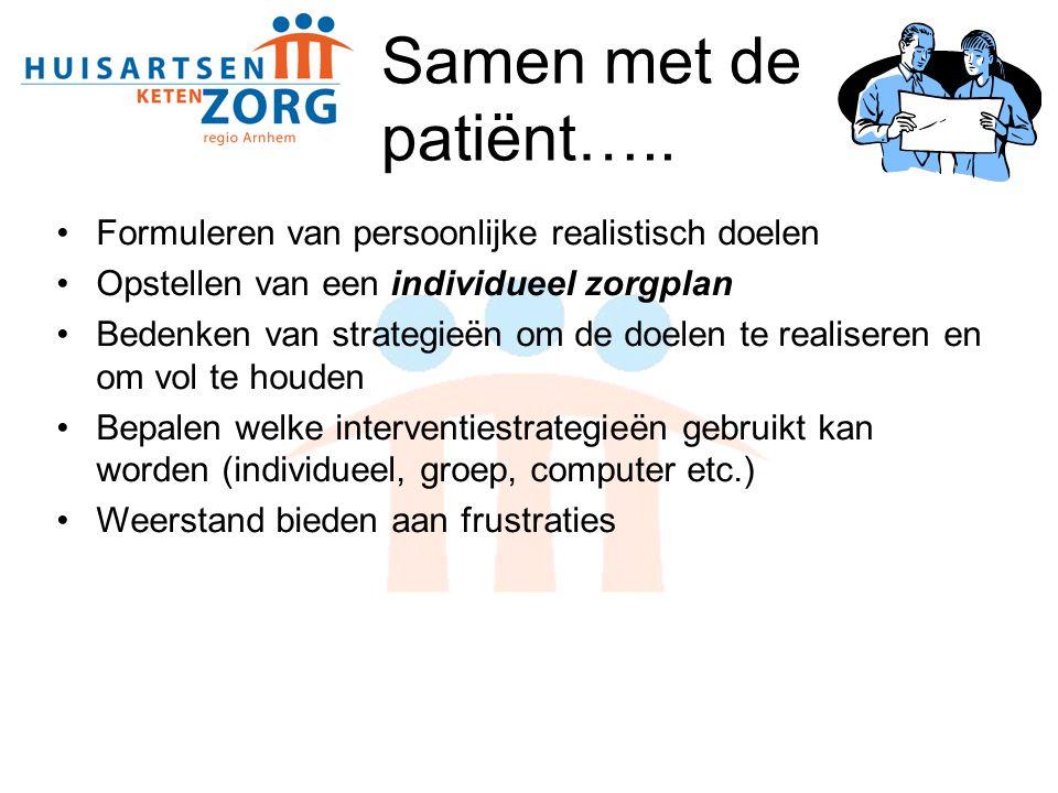 Samen met de patiënt….. Formuleren van persoonlijke realistisch doelen