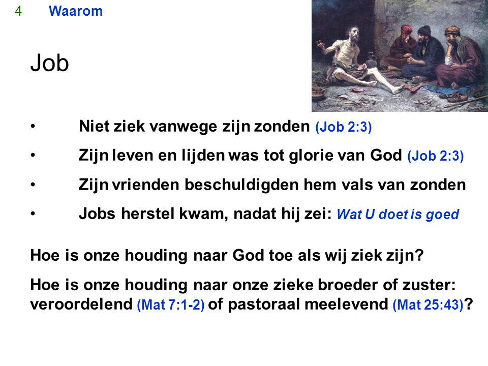 Job Niet ziek vanwege zijn zonden (Job 2:3)