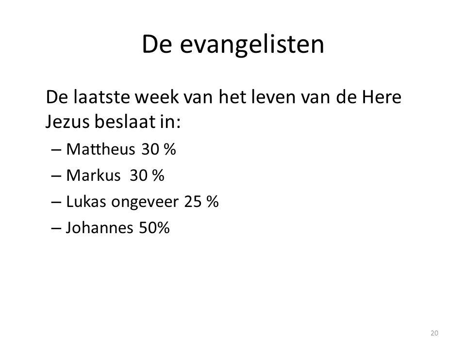 De evangelisten De laatste week van het leven van de Here Jezus beslaat in: Mattheus 30 % Markus 30 %
