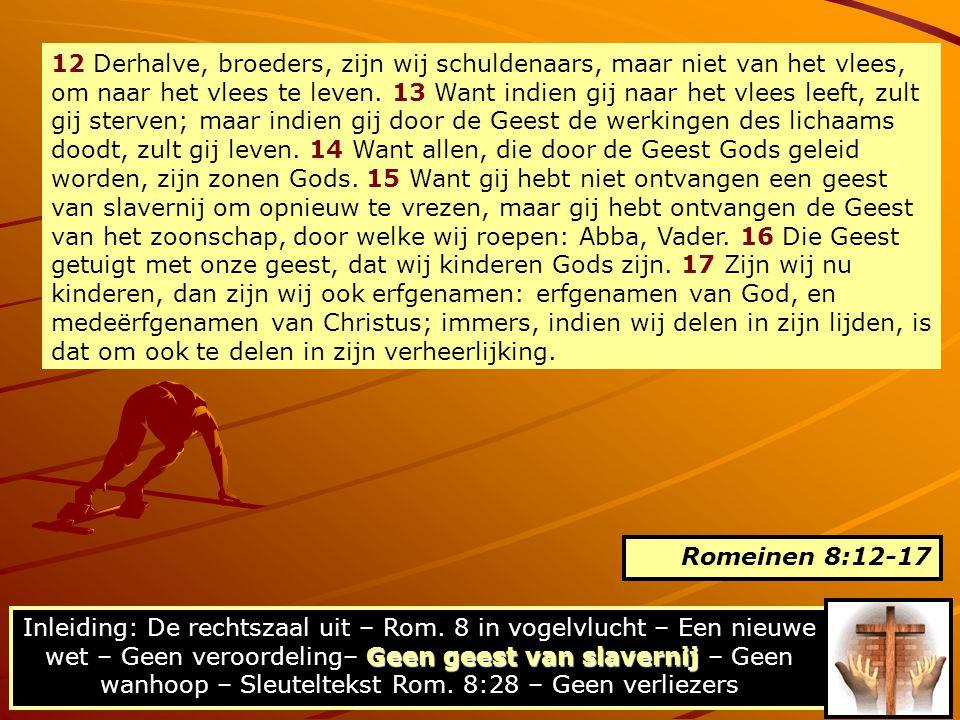 12 Derhalve, broeders, zijn wij schuldenaars, maar niet van het vlees, om naar het vlees te leven. 13 Want indien gij naar het vlees leeft, zult gij sterven; maar indien gij door de Geest de werkingen des lichaams doodt, zult gij leven. 14 Want allen, die door de Geest Gods geleid worden, zijn zonen Gods. 15 Want gij hebt niet ontvangen een geest van slavernij om opnieuw te vrezen, maar gij hebt ontvangen de Geest van het zoonschap, door welke wij roepen: Abba, Vader. 16 Die Geest getuigt met onze geest, dat wij kinderen Gods zijn. 17 Zijn wij nu kinderen, dan zijn wij ook erfgenamen: erfgenamen van God, en medeërfgenamen van Christus; immers, indien wij delen in zijn lijden, is dat om ook te delen in zijn verheerlijking.