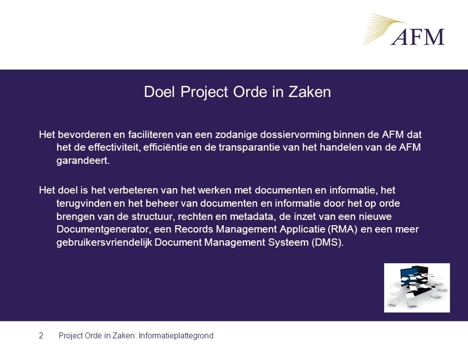 Doel Project Orde in Zaken