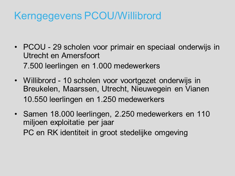 Kerngegevens PCOU/Willibrord