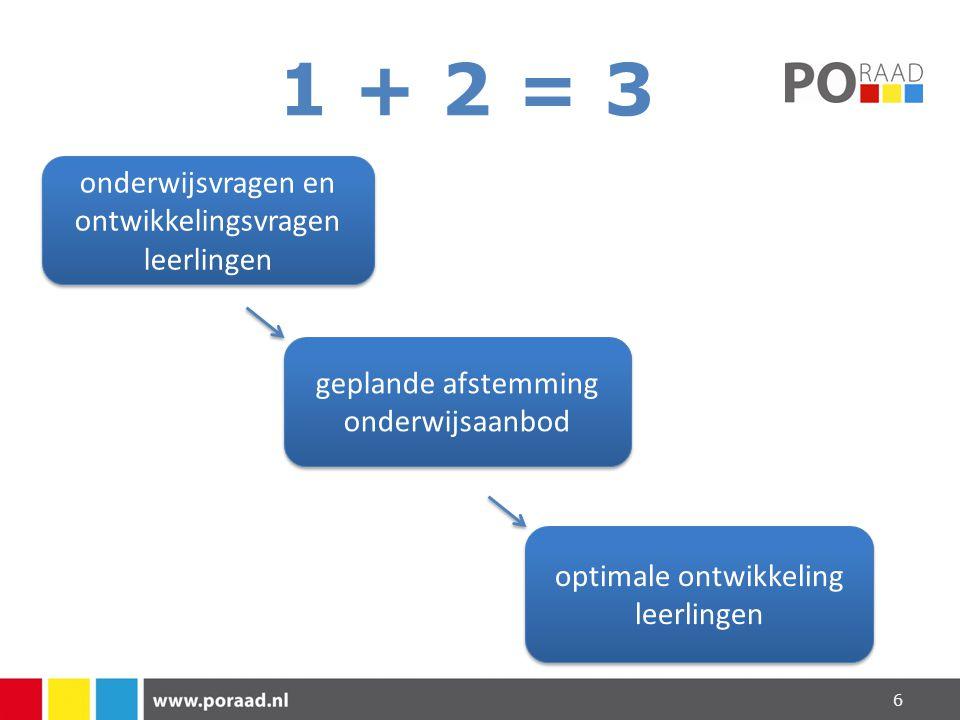 1 + 2 = 3 onderwijsvragen en ontwikkelingsvragen leerlingen