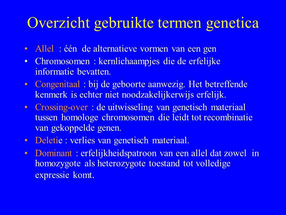 Overzicht gebruikte termen genetica