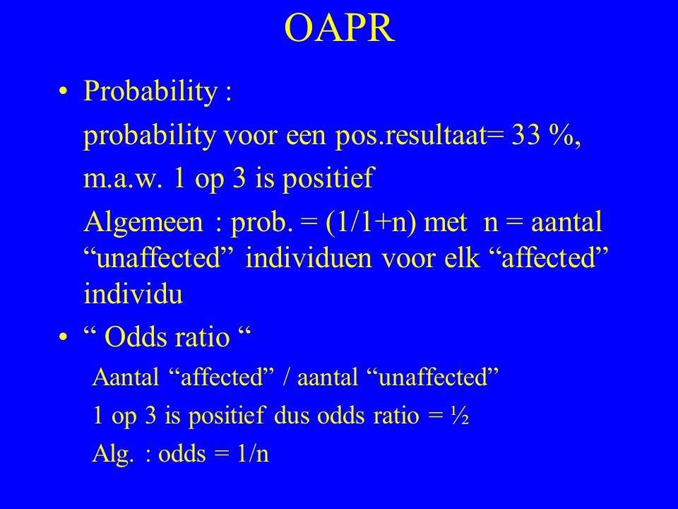 OAPR Probability : probability voor een pos.resultaat= 33 %,