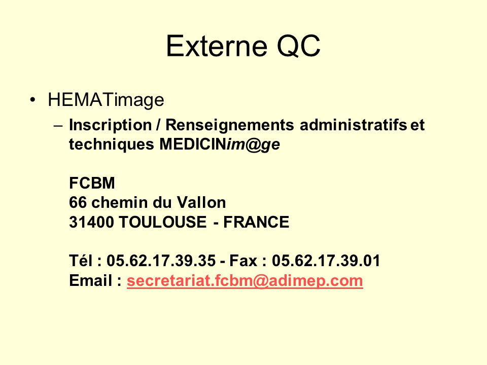Externe QC HEMATimage.