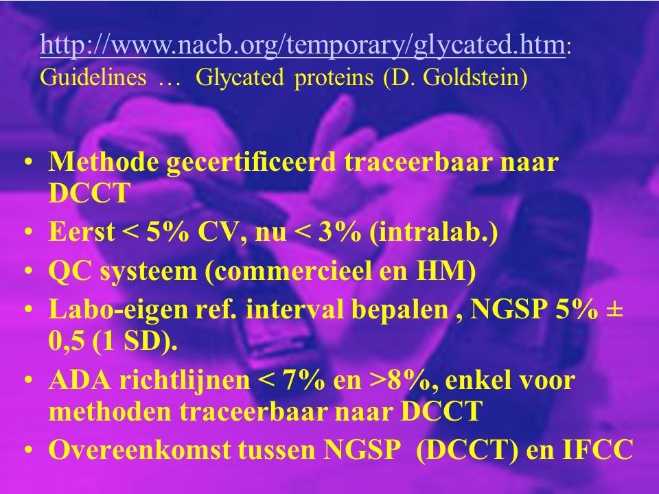 Methode gecertificeerd traceerbaar naar DCCT