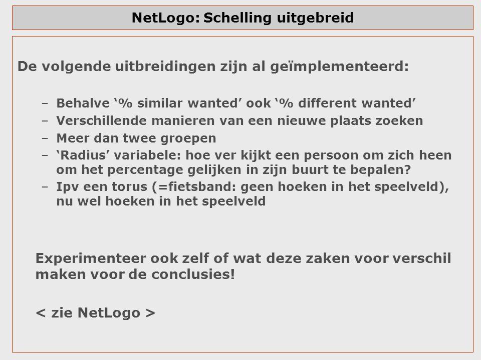 NetLogo: Schelling uitgebreid