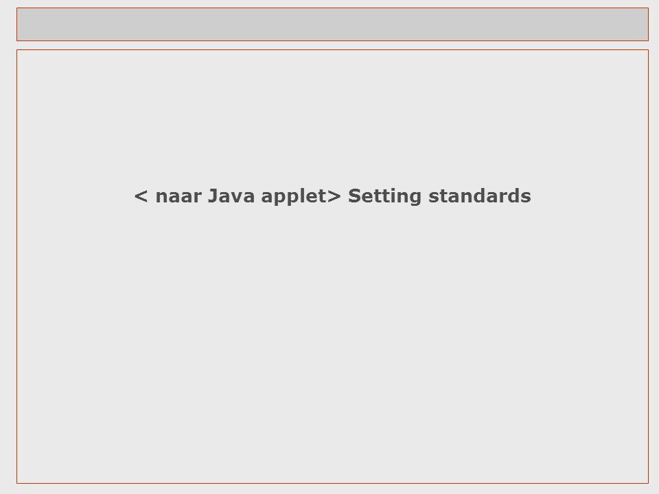 < naar Java applet> Setting standards