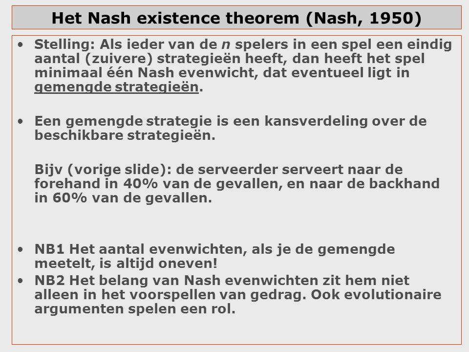 Het Nash existence theorem (Nash, 1950)