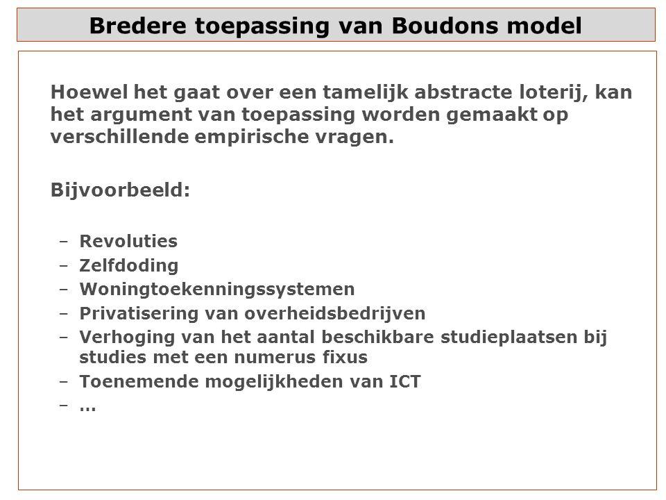 Bredere toepassing van Boudons model