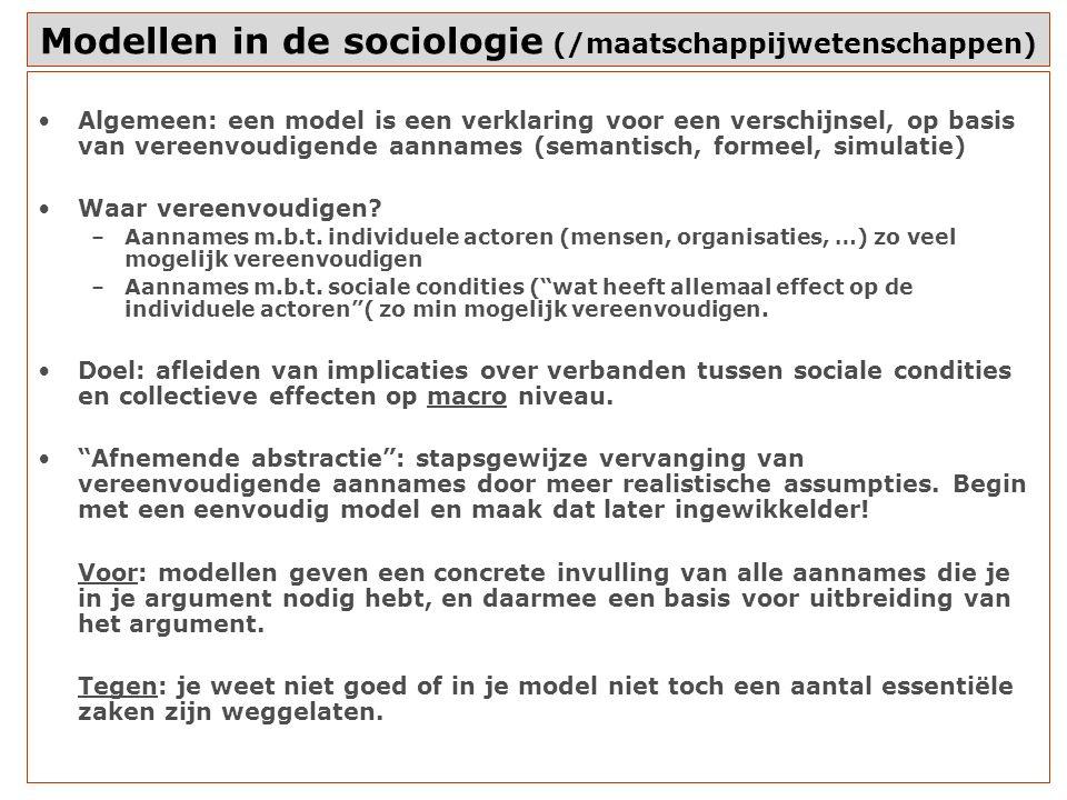 Modellen in de sociologie (/maatschappijwetenschappen)