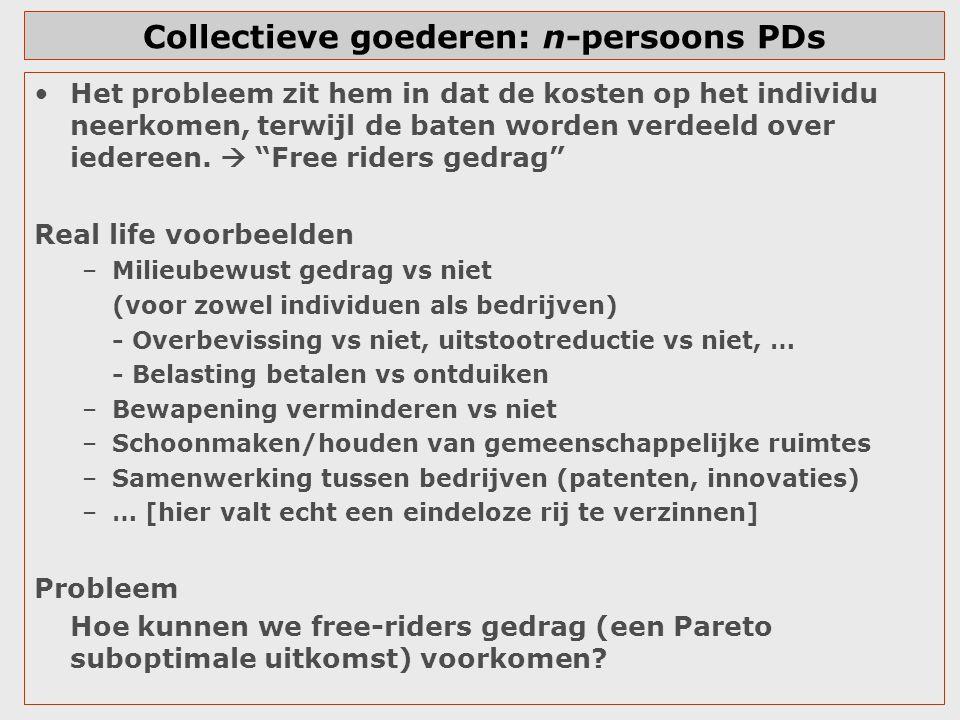 Collectieve goederen: n-persoons PDs