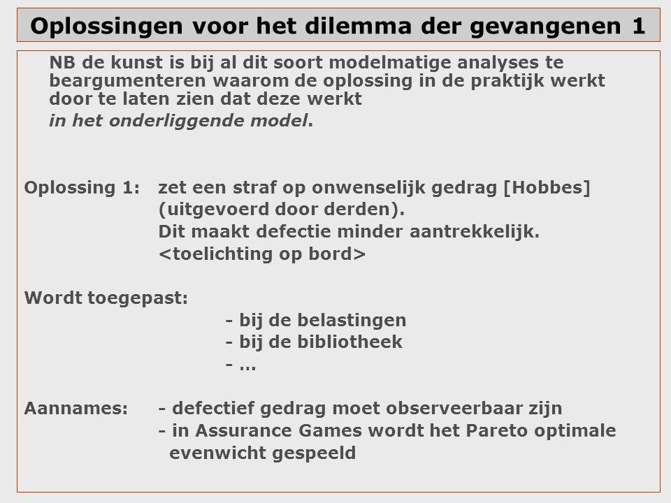 Oplossingen voor het dilemma der gevangenen 1