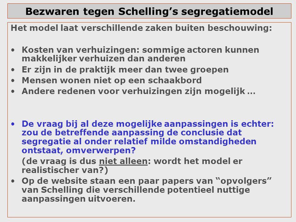 Bezwaren tegen Schelling's segregatiemodel