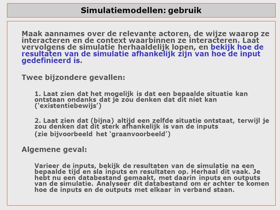 Simulatiemodellen: gebruik