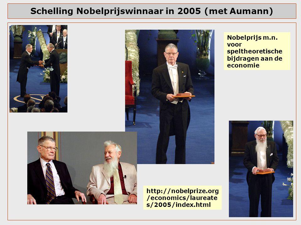 Schelling Nobelprijswinnaar in 2005 (met Aumann)
