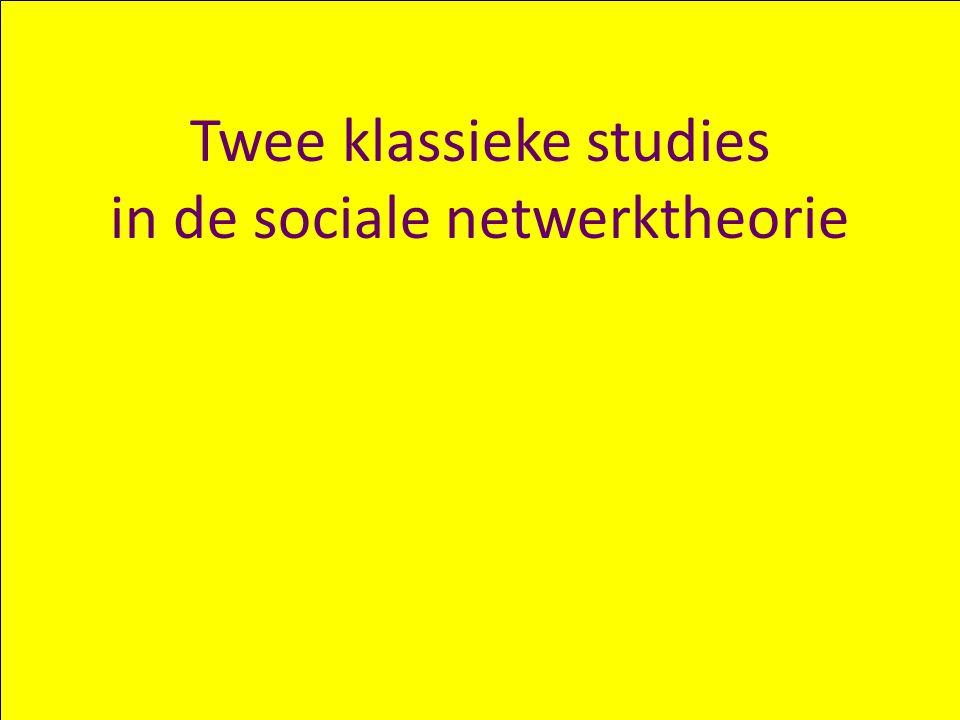 Twee klassieke studies in de sociale netwerktheorie
