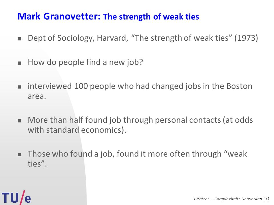 Mark Granovetter: The strength of weak ties