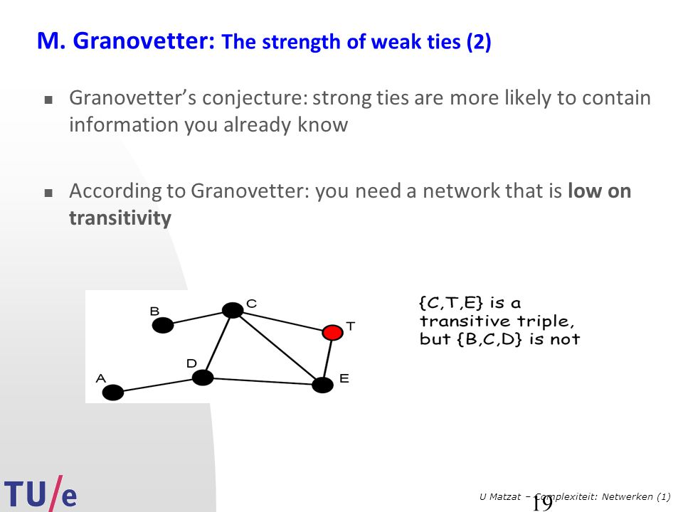 M. Granovetter: The strength of weak ties (2)