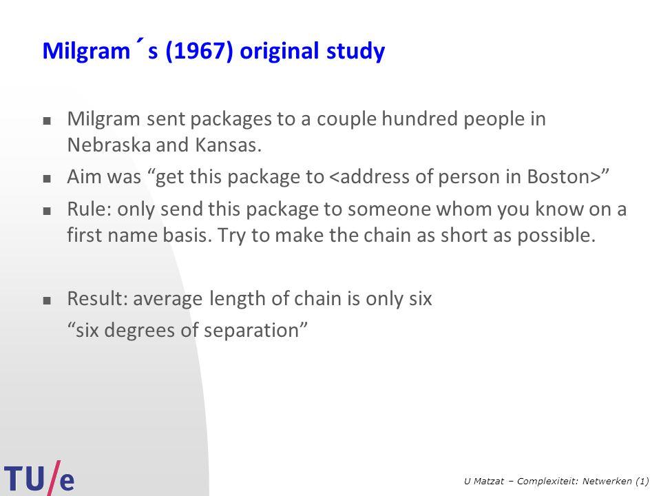 Milgram´s (1967) original study