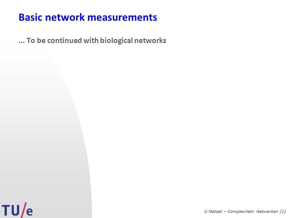 Basic network measurements