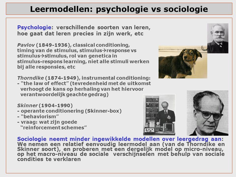 Leermodellen: psychologie vs sociologie