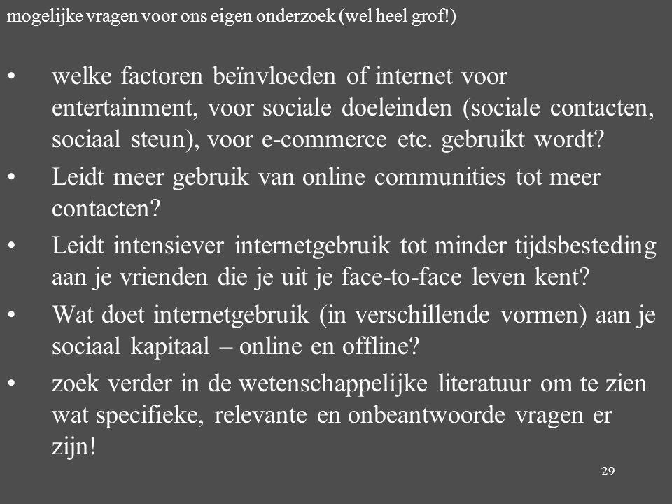 Leidt meer gebruik van online communities tot meer contacten
