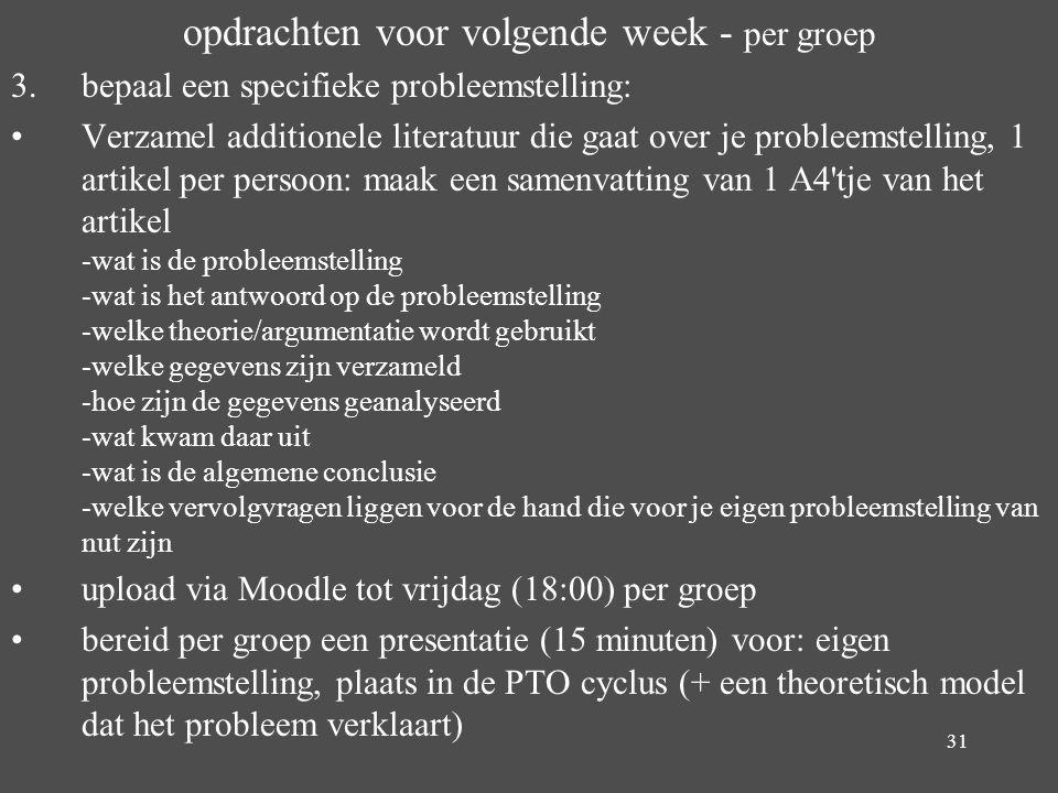 opdrachten voor volgende week - per groep