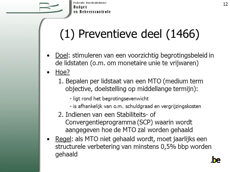 (1) Preventieve deel (1466) Doel: stimuleren van een voorzichtig begrotingsbeleid in de lidstaten (o.m. om monetaire unie te vrijwaren)
