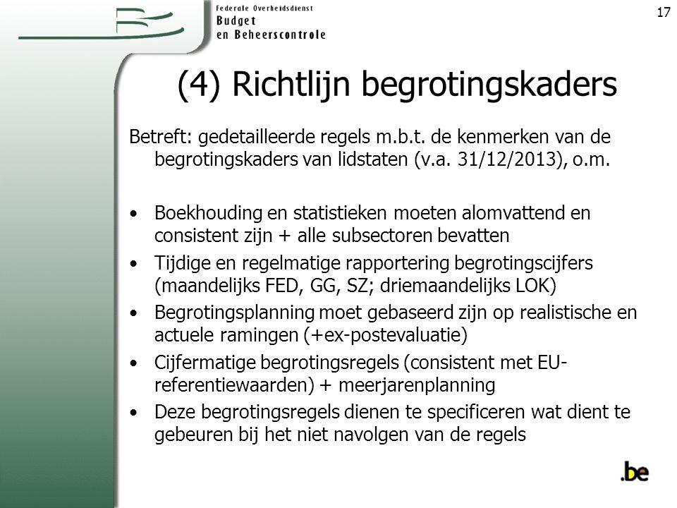 (4) Richtlijn begrotingskaders