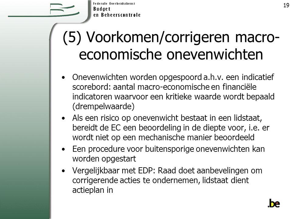 (5) Voorkomen/corrigeren macro-economische onevenwichten