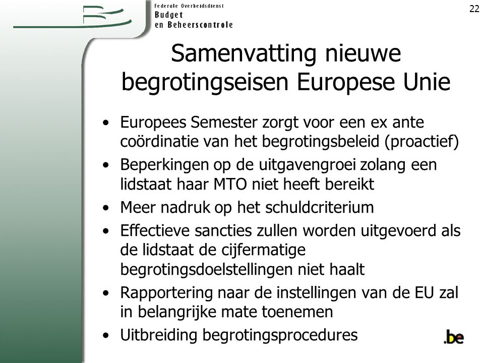 Samenvatting nieuwe begrotingseisen Europese Unie