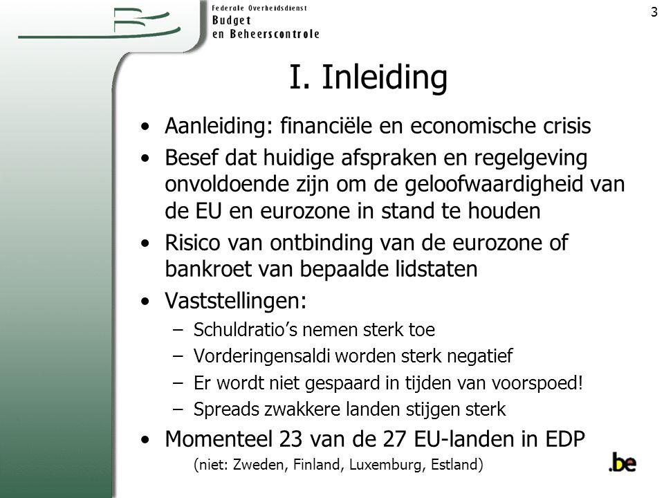 I. Inleiding Aanleiding: financiële en economische crisis