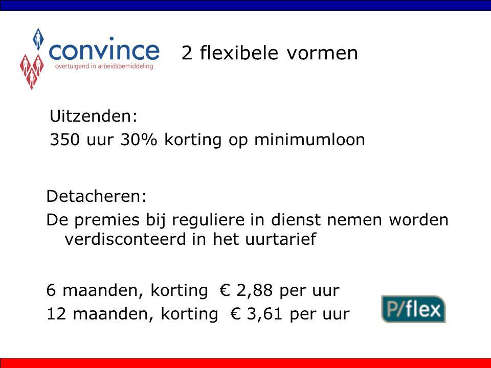 2 flexibele vormen Uitzenden: 350 uur 30% korting op minimumloon