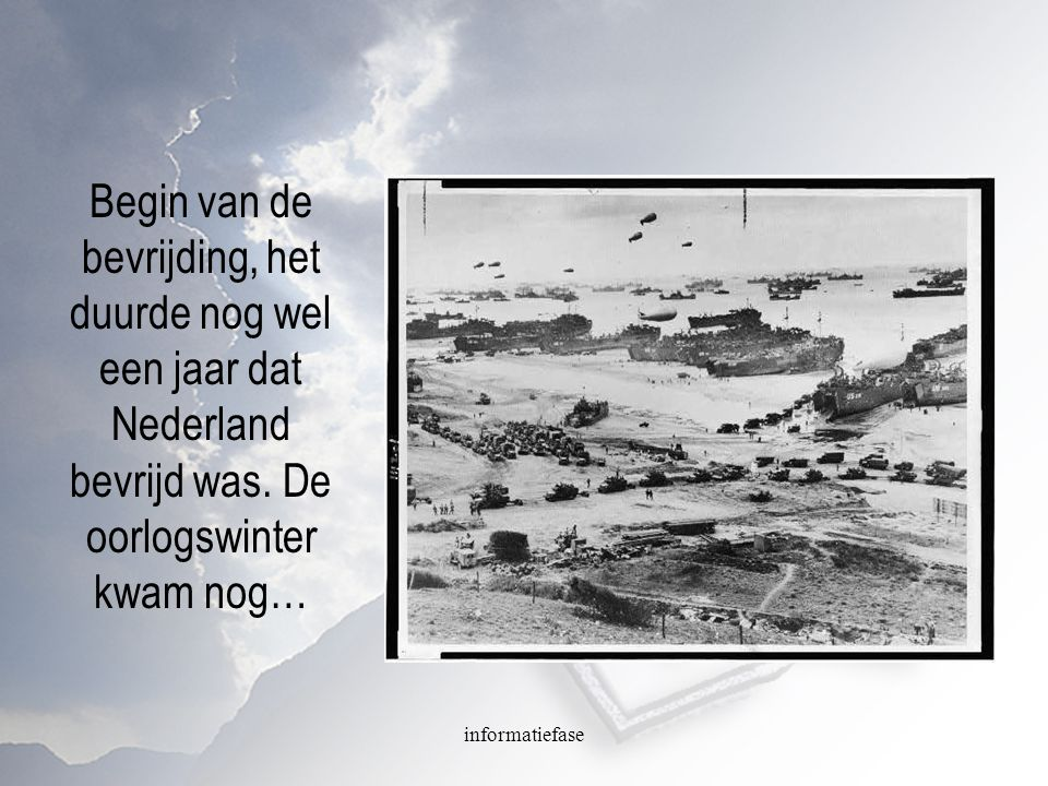 Begin van de bevrijding, het duurde nog wel een jaar dat Nederland bevrijd was. De oorlogswinter kwam nog…