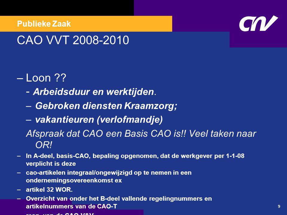 B deel (0ndernemingsovereenkomst VVT) sinds 2008