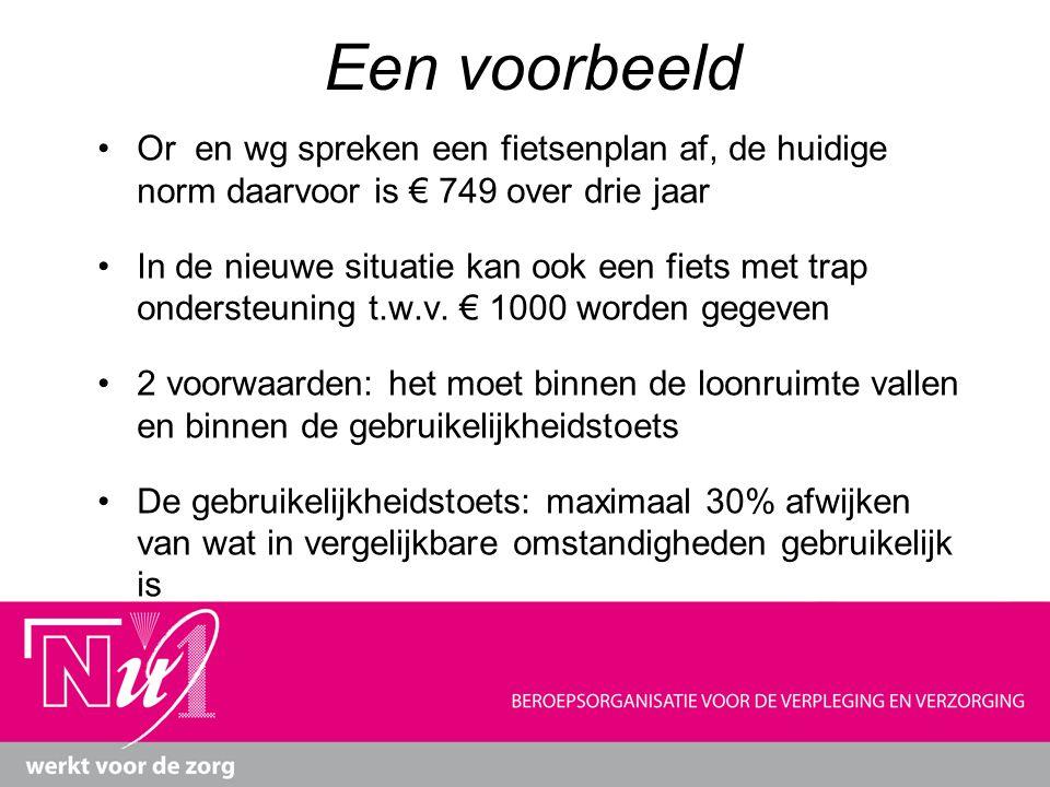 Een voorbeeld Or en wg spreken een fietsenplan af, de huidige norm daarvoor is € 749 over drie jaar.